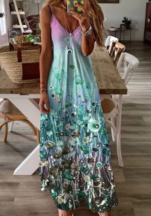Summer Casual Floral Strap Long Maxi Dress