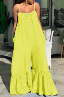 Summer Plus Size Casual Yellow Strap Bell Jumpsuits