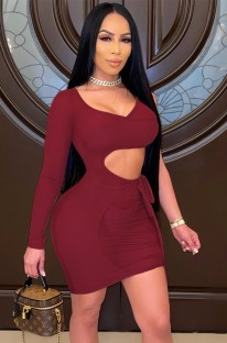 Summer Red Hollow Out Mini Bodycon Dress with Single Sleeve