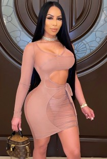 Summer Nude Hollow Out Mini Bodycon Dress with Single Sleeve