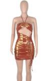 Vestito da mini club increspato metallizzato sexy estivo