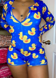 Spring Plus Size Cute Print Long Sleeve Lounge Rompers