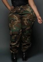 Pantaloni cargo a vita alta con stampa Camou Summer Plus Size