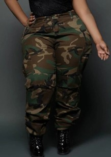 Summer Plus Size Camou Print High Waist Cargo Pants