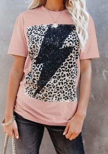 Summer Print Pink O-Neck Cotton Shirt with Short Sleeves