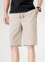 Pantalones cortos de color caqui con cordones de hombre casual de verano