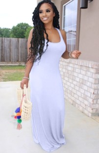 Summer White Sleeveless Casual Long Dress
