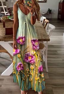 Yaz Günlük Çiçek Askılı Uzun Maxi Elbise