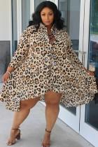 Abito camicetta irregolare a maniche lunghe con stampa leopardata primavera taglie forti