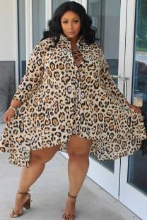 Spring Plus Size Leopard Print Long Sleeve Irregular Blouse Dress