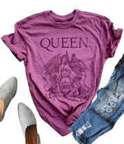 Camicia in cotone con collo a O viola con stampa estiva e maniche corte