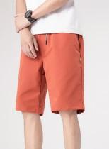 Verano Casual Hombre Cordones Pantalones cortos naranjas