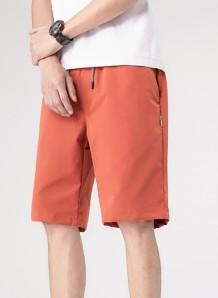 Short orange avec cordons de serrage pour homme décontracté d'été