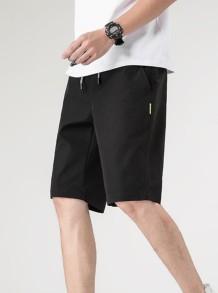 Short noir à cordon de serrage pour homme décontracté d'été