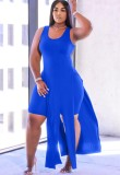 Summer Blue Slit Long Top and Tight Shorts 2PC Matching Set