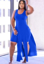 Летний синий длинный топ с разрезом и узкие шорты, комплект из 2 предметов