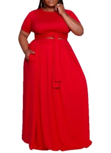 Summer Plus Size Short Sleeves Crop Top and Long Skirt Matching Set