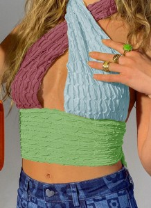 Summer Block Farbe Sexy Twist Halfter Crop Top