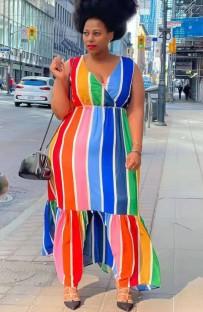 Vestido maxi largo sin mangas con rayas arcoíris de verano de talla grande