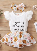 Baby Girl Summer Matching Floral 3PC Rock Set