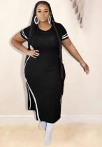 Летнее длинное платье-рубашка больших размеров с разрезом по бокам