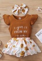 Conjunto de falda floral de 3 piezas a juego de verano para bebé niña