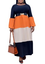 Spring Plus Size Block Color Full Sleeves O-Neck Long Maxi Dress