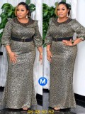 Spring Plus Size Mother of Bride Print Long Gown