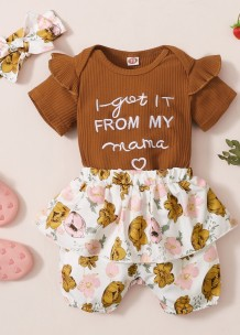 Baby Girl Summer Matching Floral 3PC Shorts Set