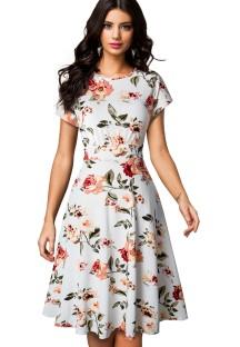 Summer Retro Floral Short Sleeves Prom Dress