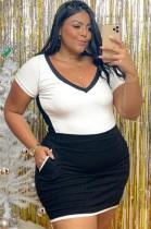 Mini vestido ajustado con cuello en V blanco y negro de talla grande de verano
