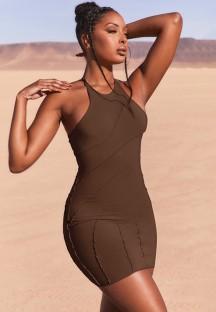 Robe d'été moulante sexy marron
