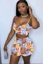 Summer Retro Print Strap Crop Top y Shorts de cintura alta a juego con 2 piezas