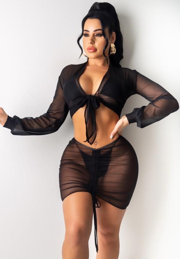 Summer Party Sexy Transparent 4pc Matching Skirt Set