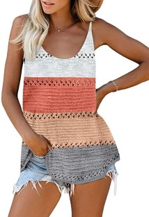 Summer Block Color Hollow Out Knit Tank Tops