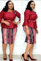 Spring Plus Size Schößchenkleid der Brautmutter mit passendem Gürtel