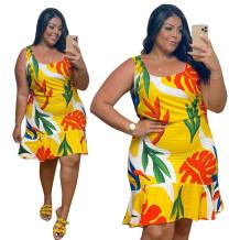 Plus Size Summer Floral Strap Meerjungfrau Kleid