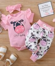 Conjunto de pantalones de 3 piezas de animales a juego de verano para bebé niña