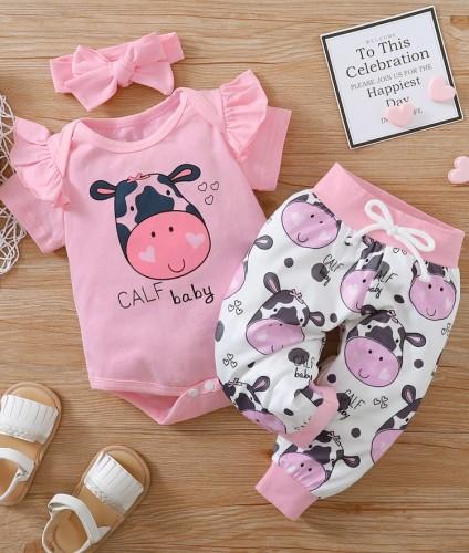 Set di pantaloni 3PC animali abbinati estivi per bambina