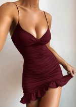Mini vestido de festa sexy com franzido Fishtail com alça de verão