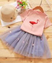 Conjunto de falda de fiesta de 2 piezas a juego de verano para niña