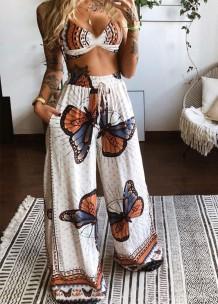 Yaz Tereyağlı Sütyen ve Yüksek Bel Geniş Pantolon Eşleşen 2'li Set