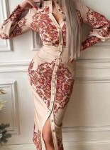 Vestido a media pierna de manga larga con abertura frontal y estampado retro formal de primavera