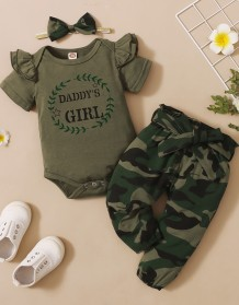 Baby Girl Summer Matching Camou 3PC Pants Set