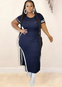 Summer Plus Size Side Slit Long Shirt Dress