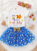 Conjunto de falda de fiesta de 3 piezas a juego de verano para niña