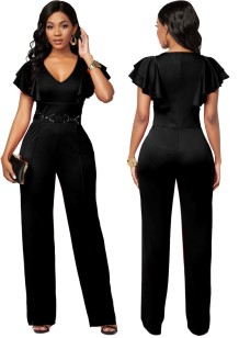 Summer Formal V-Neck Jumpsuit with Ruffle Sleeves