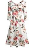 Sommer Retro Blumenhälfte Ärmel Abendkleid