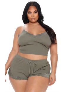 Summer Plus Size Lace Patch Two Piece Shorts Pajama Set