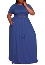 Sommer Plus Size Kurzarm Crop Top und Long Skirt Matching Set